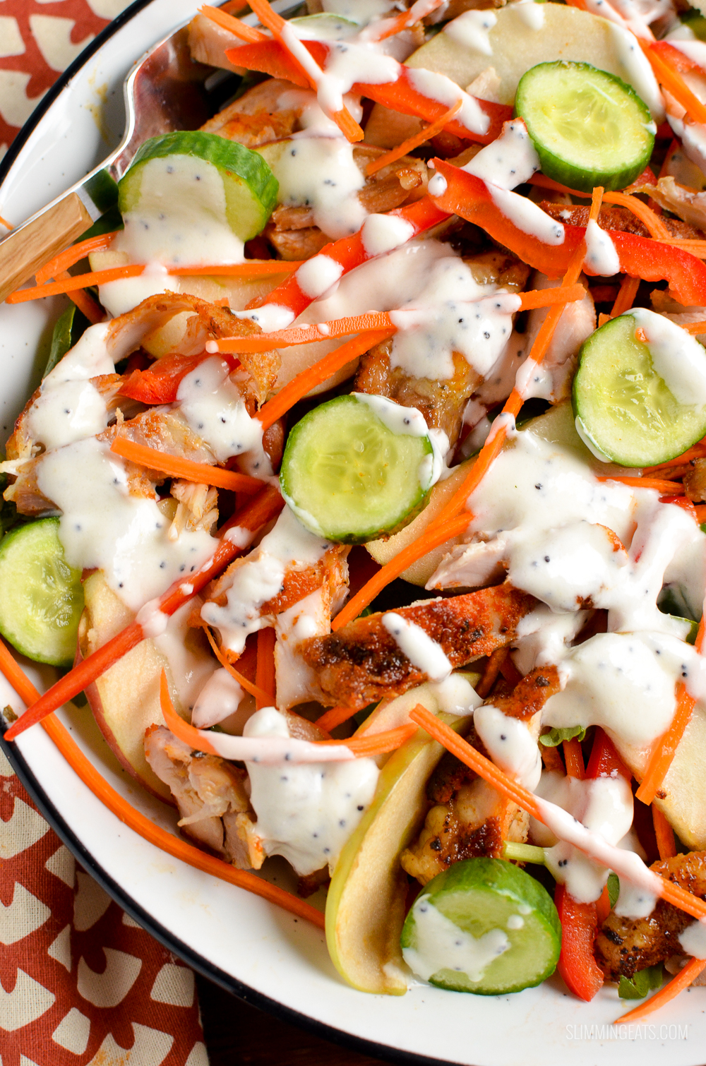 over the top close up of chopped chicken salad with poppyseed dressing