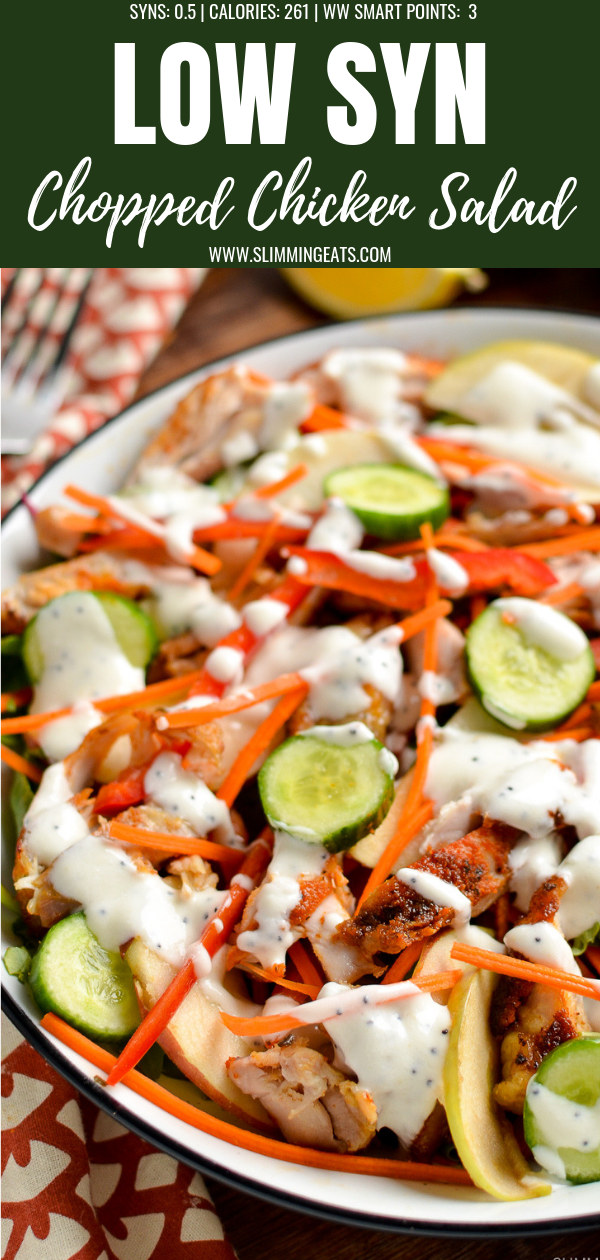 chopped chicken salad pin image