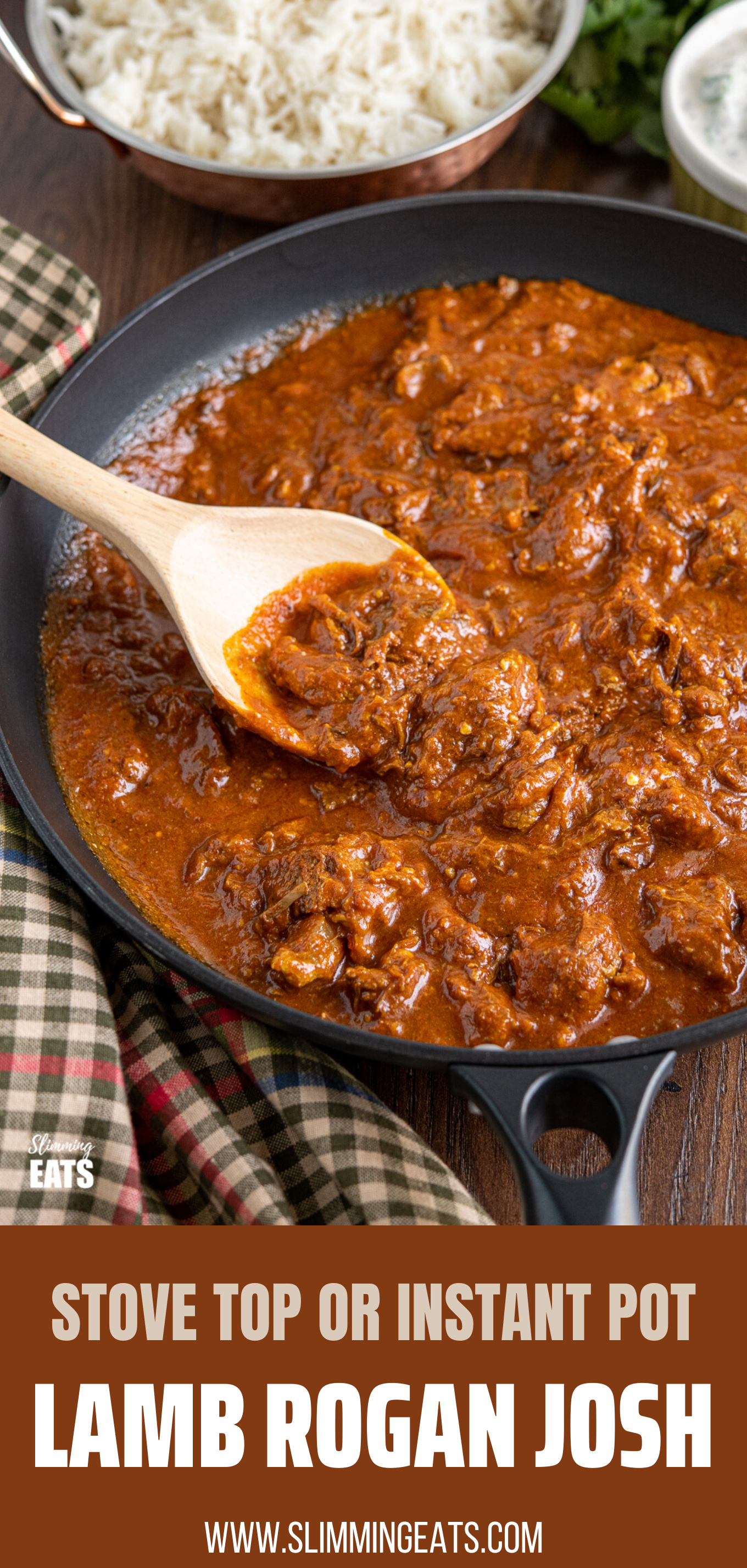 Lamb Rogan Josh in black frying pan with wooden spoon featured pin