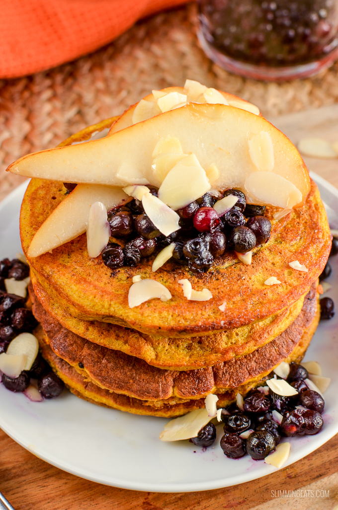 Slimming Eats Low Syn Fluffy Pumpkin Oatmeal Pancakes - gluten free, dairy free, vegetarian, Slimming World and Weight Watchers friendly