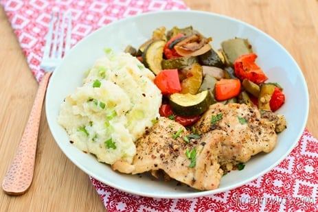 Slimming Eats Black Pepper Chicken with Balsamic Roasted Vegetables -gluten free, dairy free, Whole30, paleo, Slimming World (SP) and Weight Watchers friendly