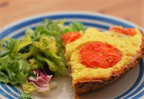 Slimming Eats - Bacon, Cheese and Tomato Quiche - vegetarian, slimming world and weight watchers friendly