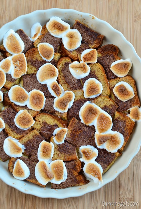 Slimming Eats S'mores Bread Pudding - Vegetarian, Slimming World and Weight Watchers friendly