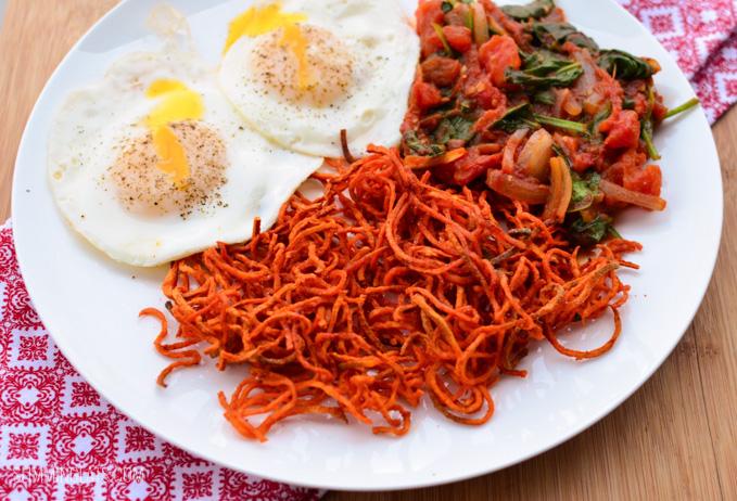Slimming Eats Spiralled Sweet Potato Hash - gluten free, dairy free, vegetarian, paleo, Slimming World and Weight Watchers friendly