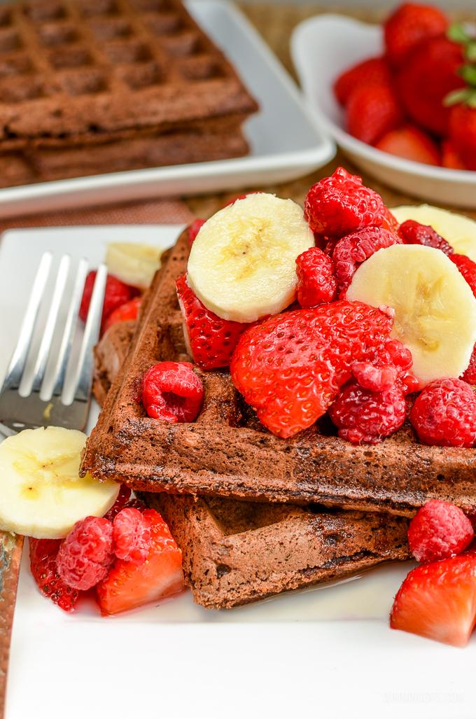 Slimming Eats Chocolate Waffles - gluten free, dairy free, vegetarian, Slimming World and Weight Watchers friendly