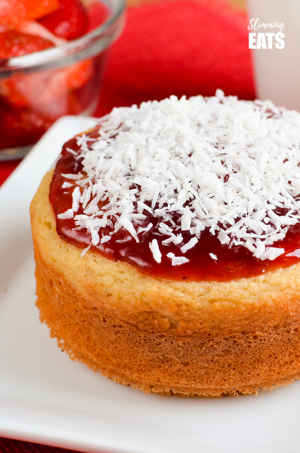 close up of Jam and Coconut Sponge Cake on white plate