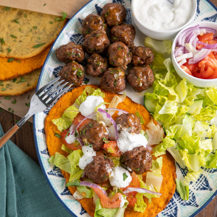 Lamb Kofta with Sweet Potato Flatbreads