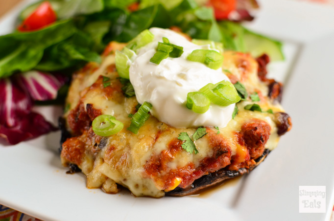 Slimming Eats Turkey Chilli Stuffed Portobello Mushroom - gluten free, Slimming World (SP) and Weight Watchers friendly
