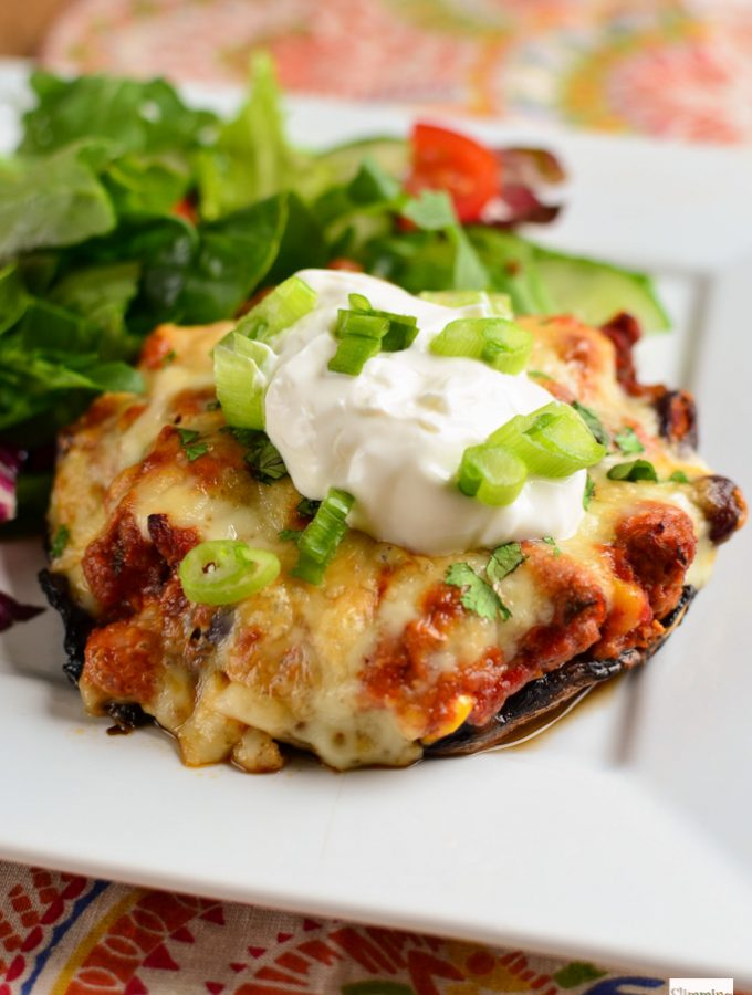 Turkey Chilli Stuffed Portobello Mushroom