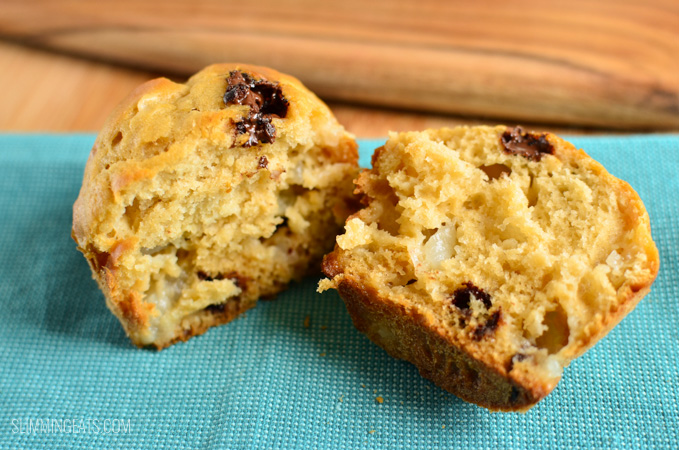 Slimming Eats Pear and Chocolate Chip Muffins - Vegetarian, Slimming World (SP) friendly and Weight Watchers friendly