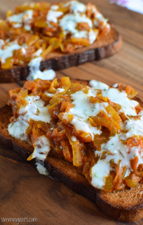 Slimming Eat Onion Masala Toast - vegetarian, Slimming World and Weight Watchers friendly