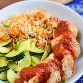 Feta Stuffed Chicken with Roasted Red Pepper Sauce