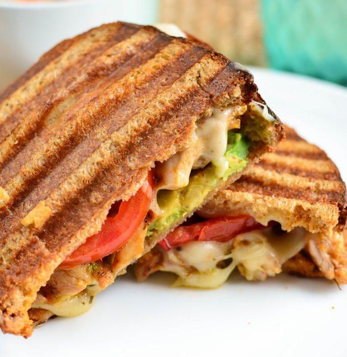 Grilled Chicken, Avocado, Tomato and Mozzarella Sandwich