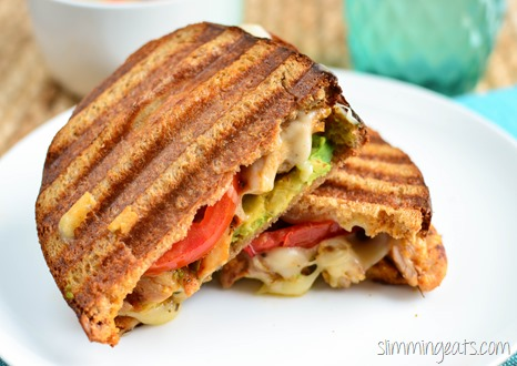 Slimming Eats Grilled Chicken, Avocado, Tomato and Mozzarella Sandwich - Slimming World and Weight Watchers friendly