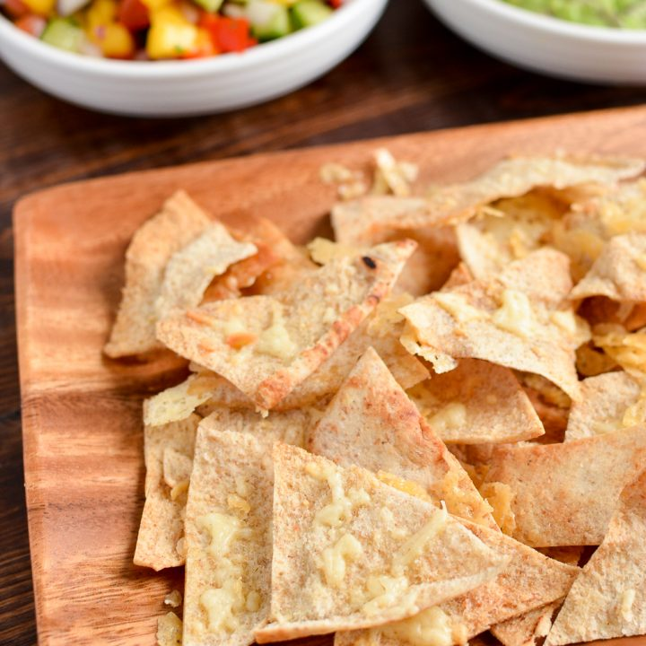 Crispy Cheddar Pita Chips with Guacamole and Mango Salsa