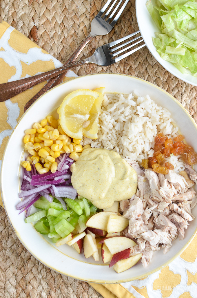Slimming Eats Low Syn Curried Chicken Rice Salad Bowl - gluten free, Slimming World, Weight Watchers friendly