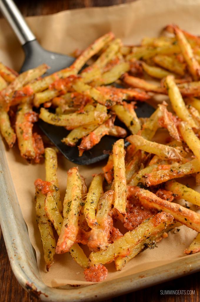 close up of garlic parmesan fries on tray