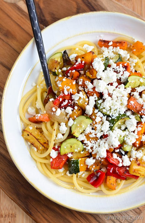 Slimming Eats Roasted Vegetables with Feta and Pasta - gluten free, vegetarian, Slimming World and Weight Watchers friendly