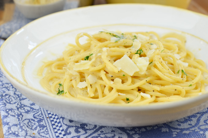 Slimming Eats Syn Free Creamy Garlic Pasta - gluten free, vegetarian, Slimming World and Weight Watchers friendly