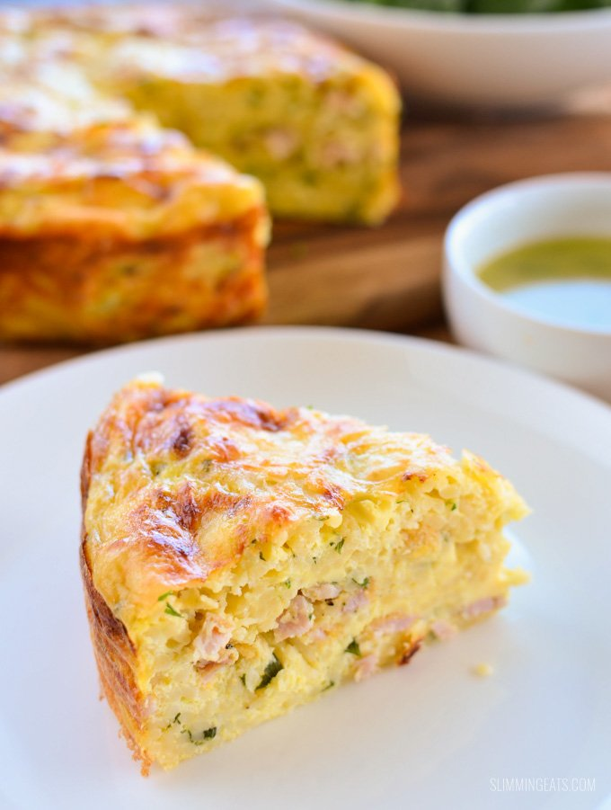 Slimming Eats Baked Carbonara Frittata - gluten free, Slimming World and Weight Watchers friendly