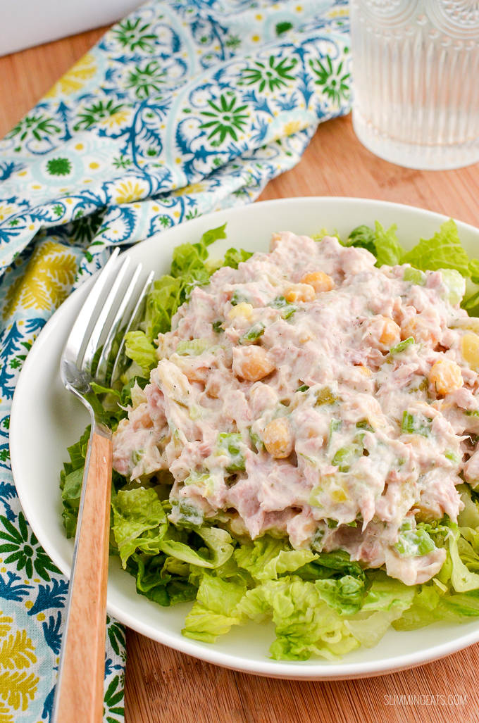 Delicious Tuna Mayo Salad with the addition of chickpeas for a perfect summertime dish.Gluten Free, Slimming World and Weight Watchers friendly