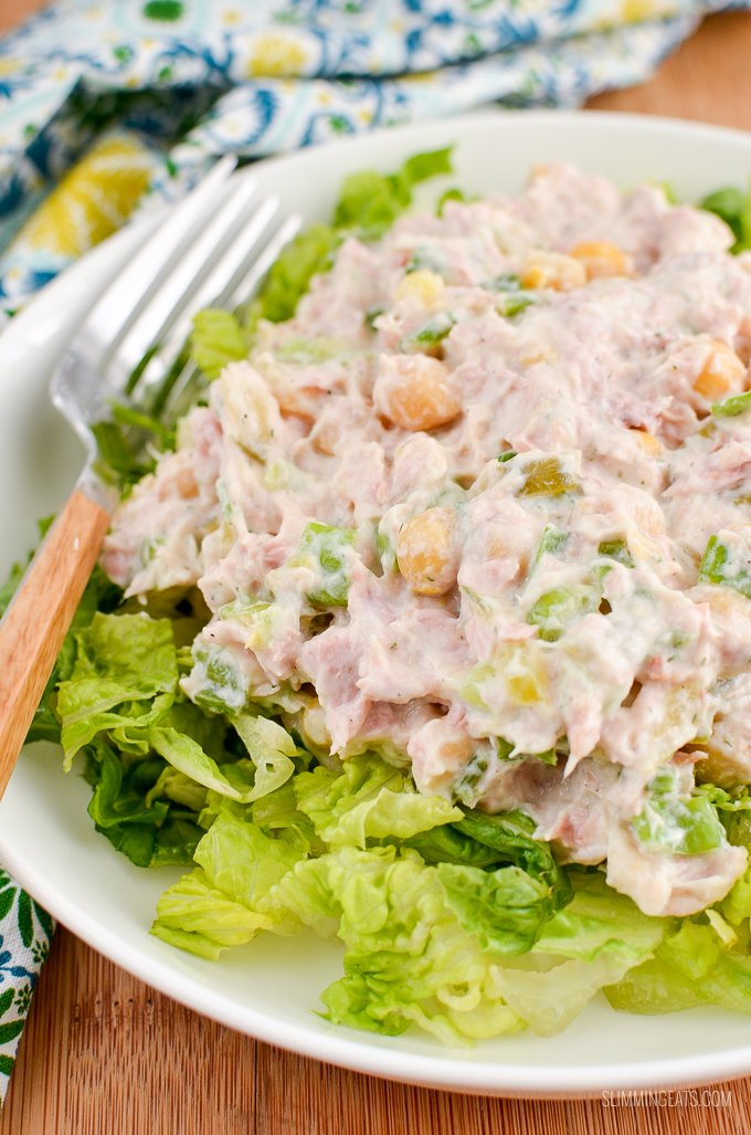 Delicious Tuna Mayo Salad with the addition of chickpeas for a perfect summertime dish. Gluten Free, Slimming World and Weight Watchers friendly