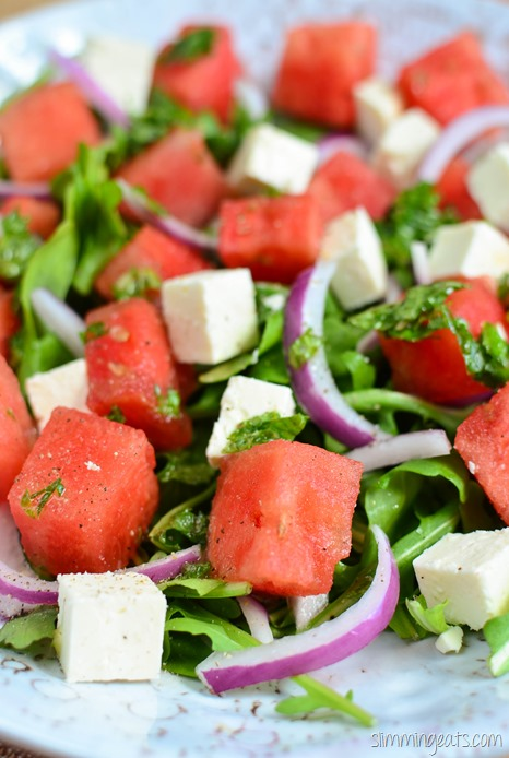 Slimming Eats Watermelon and Feta Salad - gluten free, vegetarian, Slimming World (SP) and Weight Watchers friendly