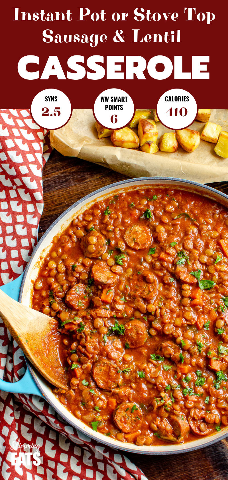 One Pot Sausage and Lentil Casserole pin image