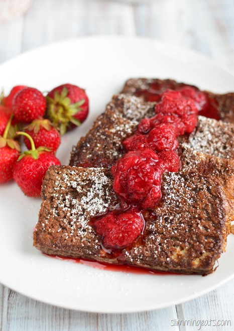 Slimming Eats Chocolate French Toast with Strawberry Sauce - dairy free, vegetarian, Slimming World and Weight Watchers friendly