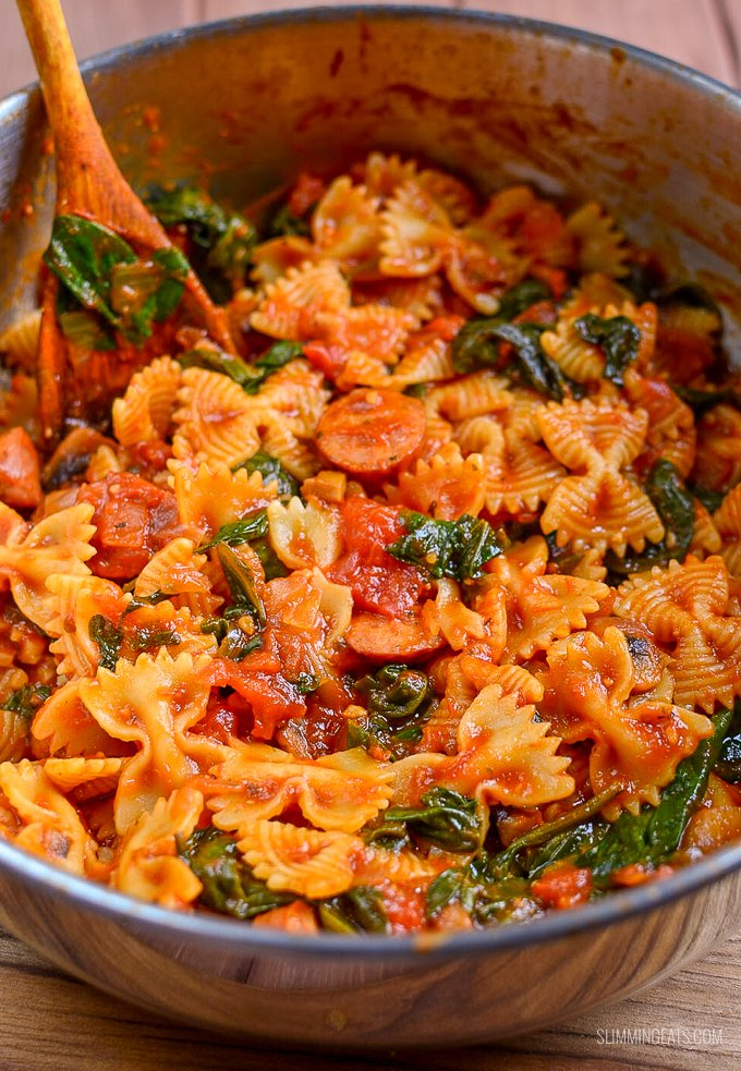 Sausage Tomato And Spinach Pasta Slimming World