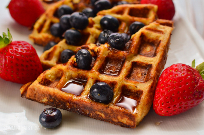 close up of French Toast Waffles on white plate