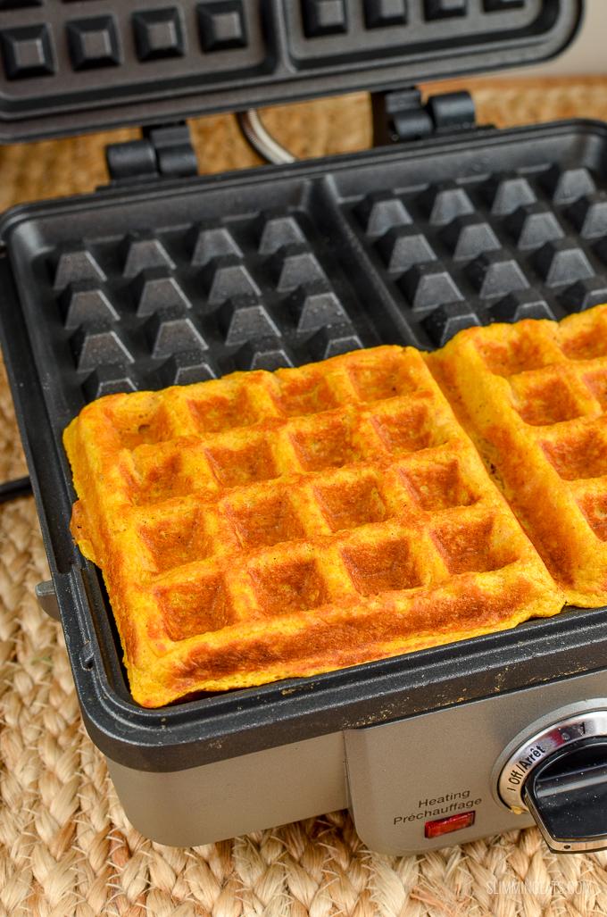 Slimming Eats Pumpkin Waffles - gluten free, vegetarian, Slimming World and Weight Watchers friendly