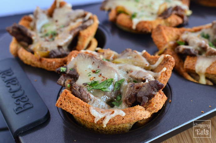 Slimming Eats Philly Cheese Steak Toast Cups - Slimming World and Weight Watchers friendly