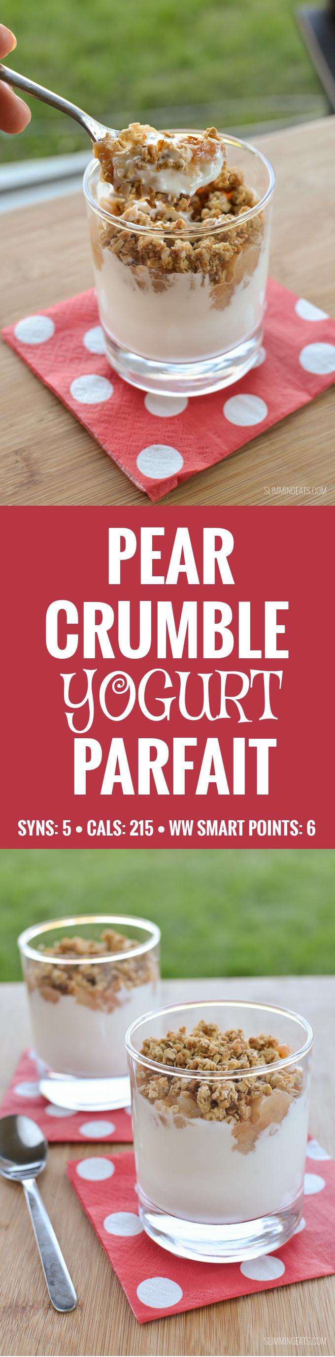 Slimming Eats Pear Crumble Yogurt Parfait - gluten free, vegetarian, Slimming World and Weight Watcher friendly