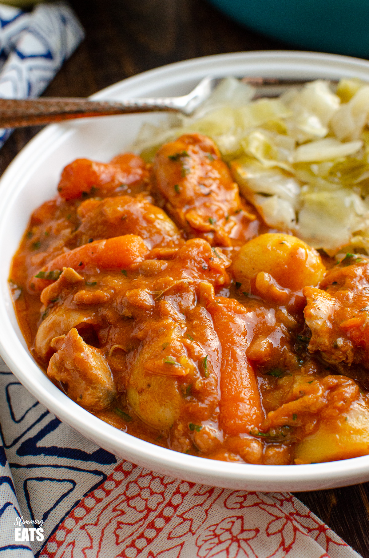 close up of chicken and baked bean casserole in white bowl with cabbage