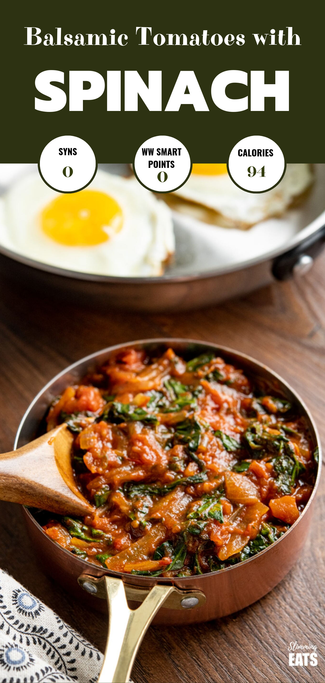 balsamic tomatoes with spinach featured pin