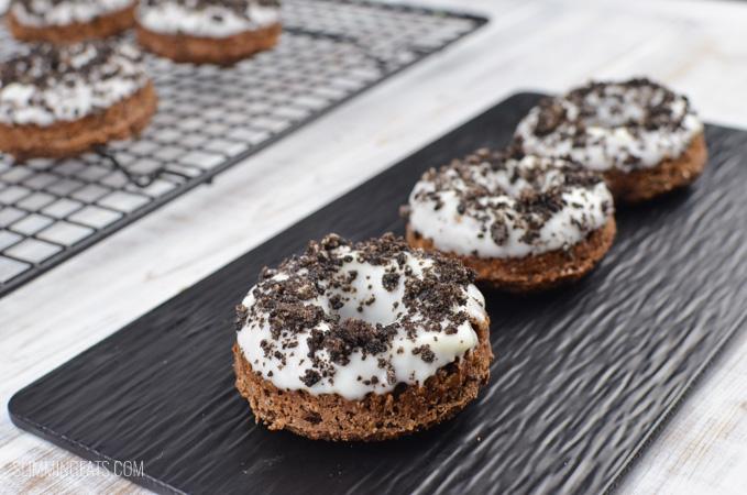 Slimming Eats Oreo Chocolate Doughnuts - vegetarian, Slimming World and Weight Watchers friendly