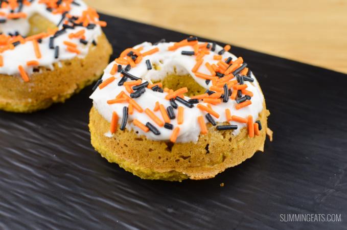 Slimming Eats Pumpkin Oatmeal Doughnuts - gluten free, vegetarian, Slimming World and Weight Watchers friendly