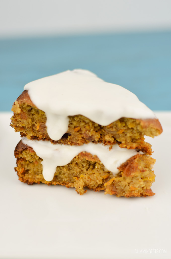 Slimming Eats Best Ever Low Syn Carrot Cake - gluten free, vegetarian Slimming World and Weight Watchers friendly