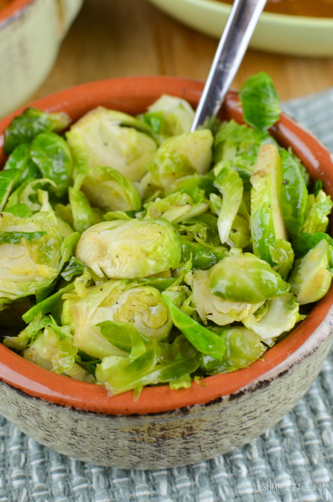 Slimming Eats Syn Free Sauteed Shredded Garlic Brussel Sprouts  - gluten free, dairy free, vegetarian, paleo, Whole30, Slimming World and Weight Watchers friendly