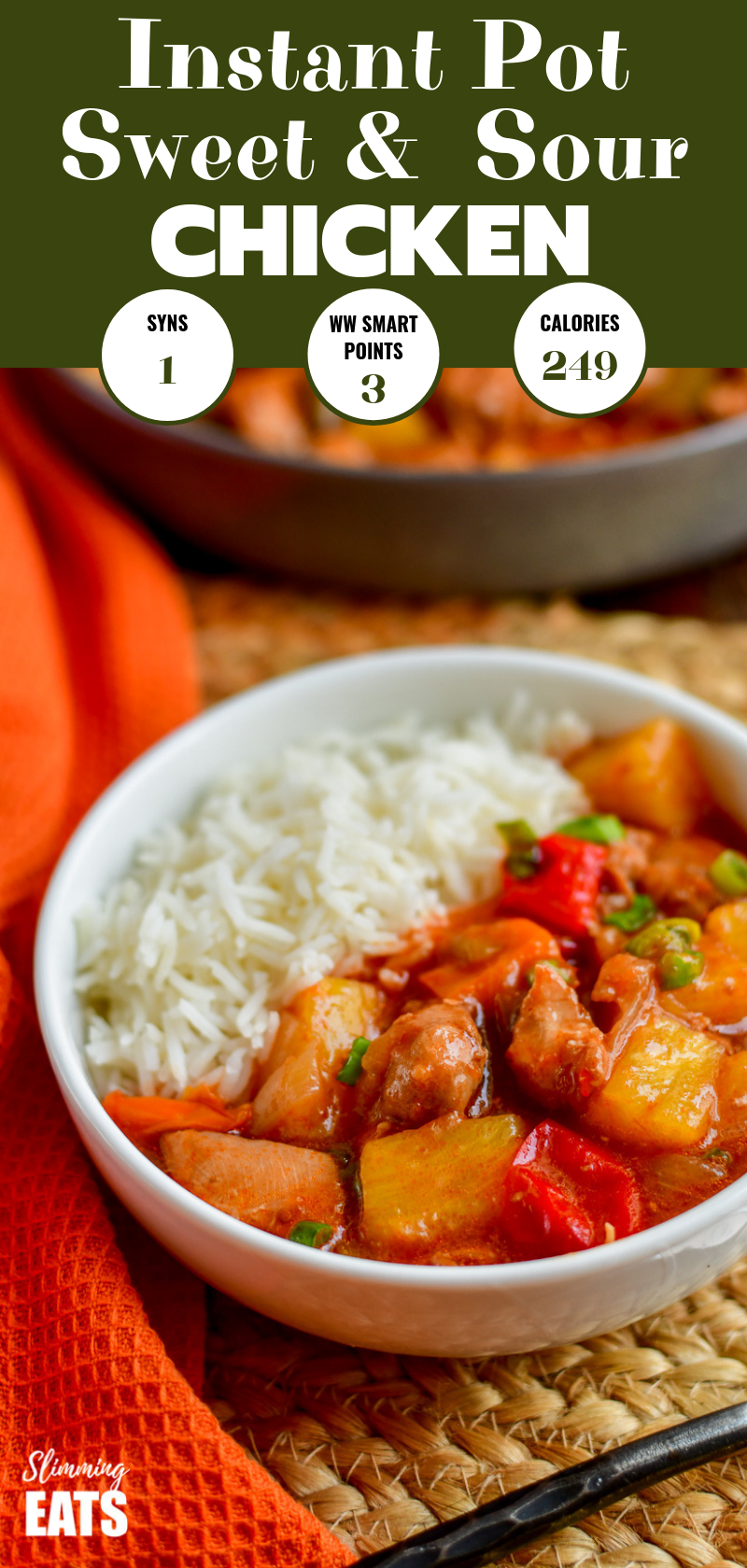 instant pot sweet and sour chicken in white bowl with white rice pin
