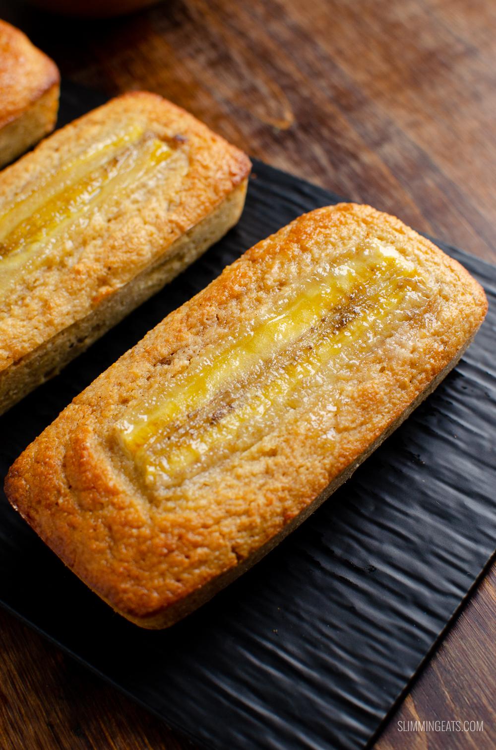 low syn mini banana raisin loaf on black tray