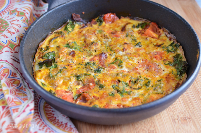 Slimming Eats Bacon, Kale and Sweet Potato Frittata - gluten free, dairy free, paleo, Whole30, Slimming World and Weight Watchers friendly