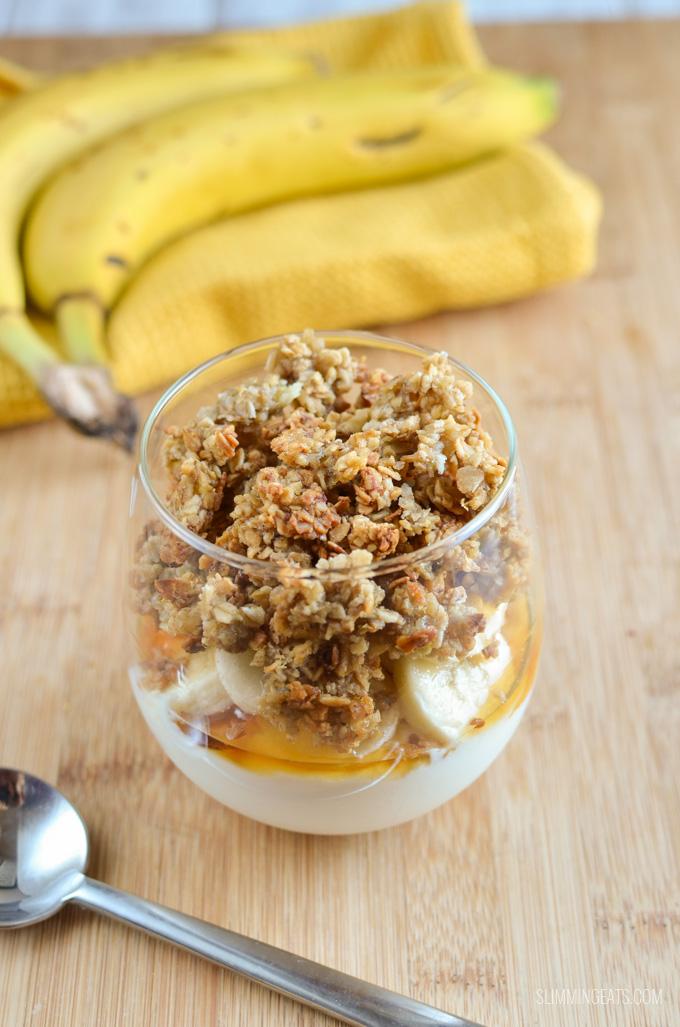 Slimming Eats Banana Granola Yoghurt Parfait - gluten free, vegetarian, Slimming World and Weight Watchers friendly