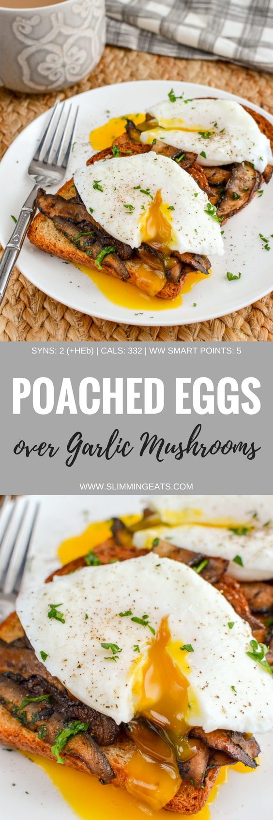 pinterest pin - poached eggs over garlic mushrooms