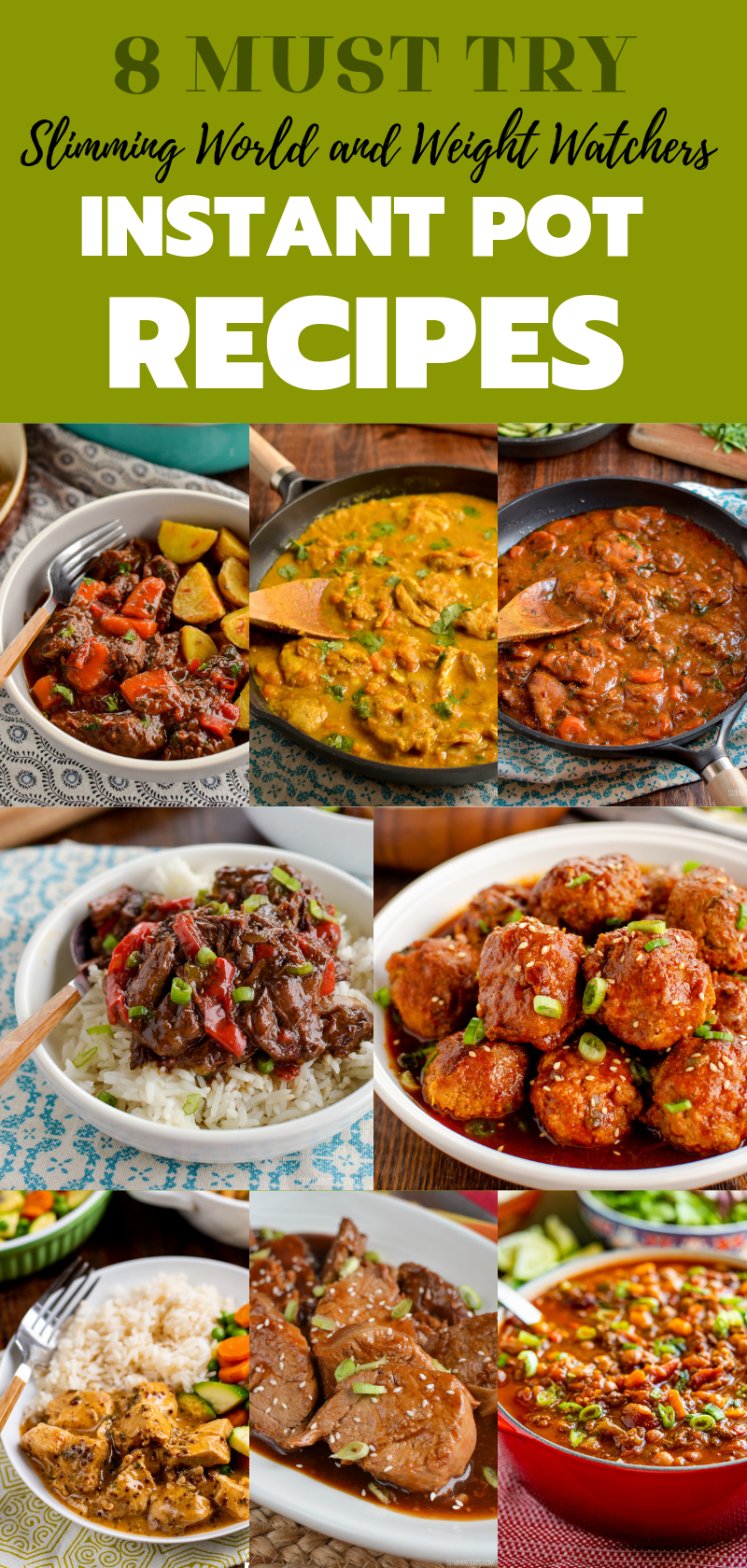 8 must try instant pot recipe collage pin