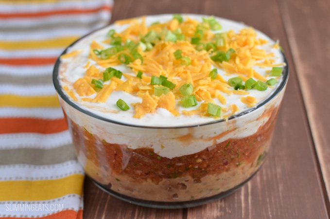 Slimming Eats Layered Mexican Dip - gluten free, vegetarian, Slimming World and Weight Watchers friendly