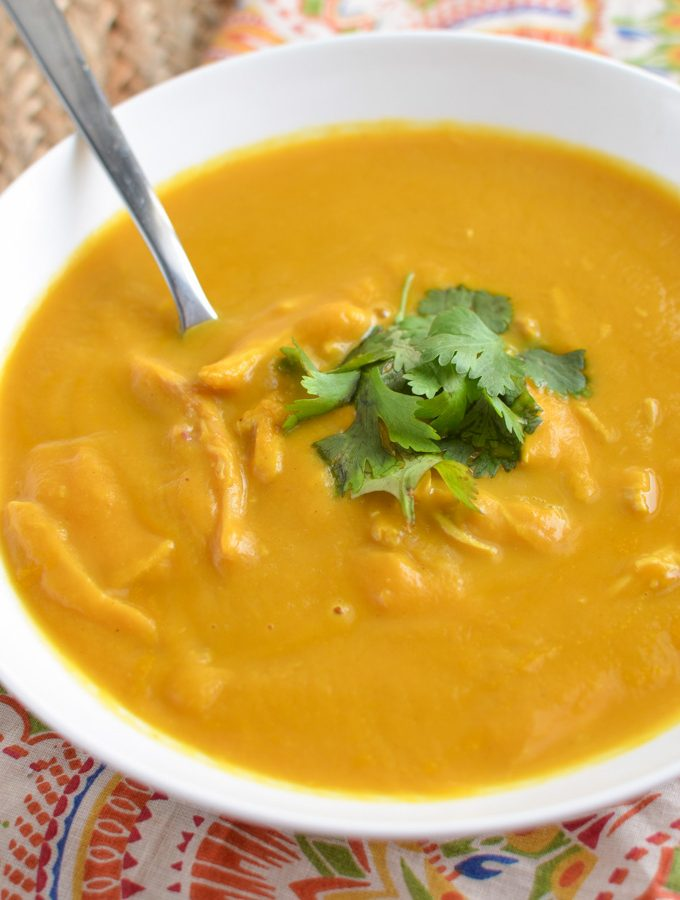 Chicken Butternut Squash Coconut Curry Soup