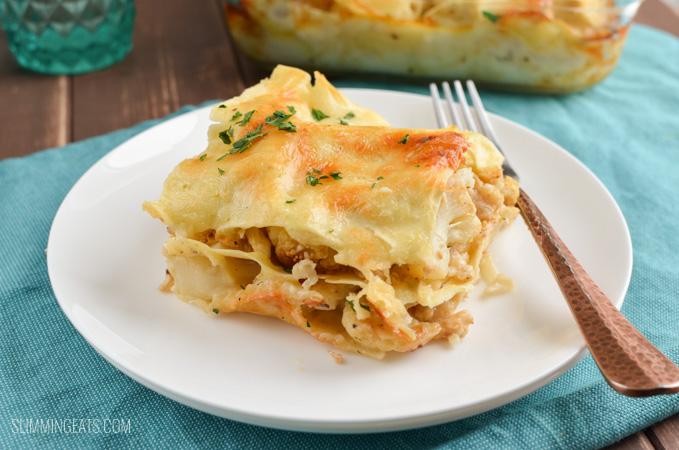 Roasted Cauliflower Cheese Lasagne - gluten free, vegetarian, Slimming World and Weight Watchers friendly