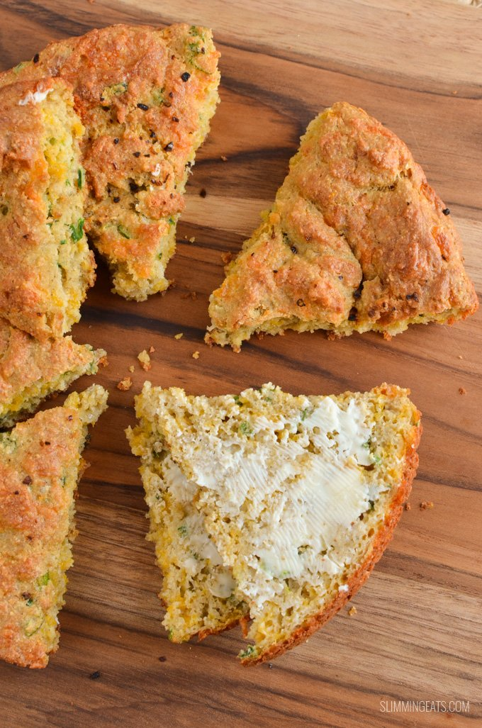 Slimming Eats Gluten Free Cheddar Cheese Spring Onion Bread - gluten free, vegetarian, Slimming World and Weight Watchers friendly